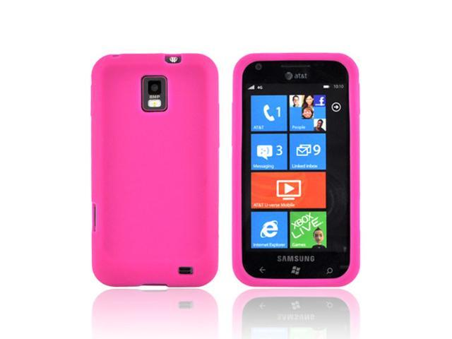 Hot Pink Rubbery Feel Silicone Skin Case Cover For Samsung Focus S i937