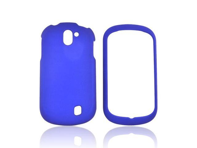 Blue Rubberized Hard Plastic Case Snap On Cover For LG Doubleplay