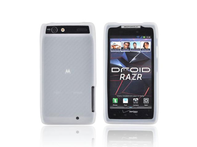 Clear Rubbery Feel Silicone Skin Case Cover For Motorola Droid RAZR