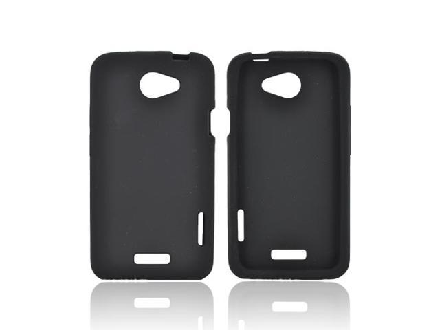 Black Rubbery Feel Silicone Skin Case Cover For HTC One X