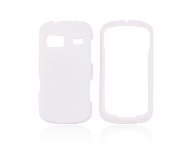 White Hard Rubberized Snap On Case Cover For LG Rumor Reflex