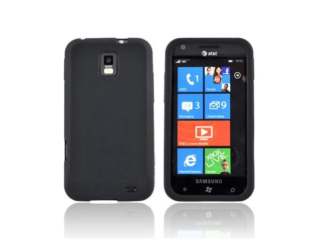 Black Rubbery Feel Silicone Skin Case Cover For Samsung Focus S i937