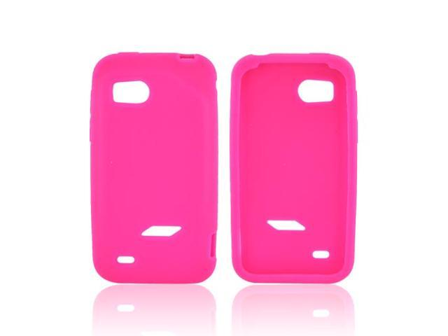 Hot Pink Rubbery Feel Silicone Skin Case Cover For HTC Rezound