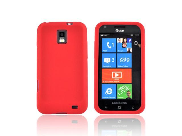 Red Rubbery Feel Silicone Skin Case Cover For Samsung Focus S i937