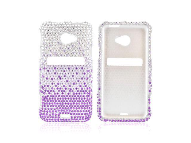 HTC EVO 4g LTE Shiny Sparkling Gem Plastic Snap On Snap On Cover - Purple/ Lavender Waterfall On Silver Gems