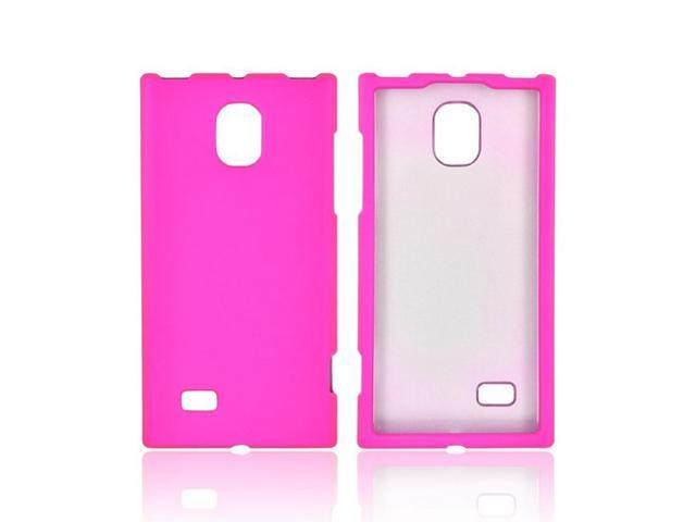 LG Spectrum 2 Rubberized Hard Plastic Case Snap On Cover - Hot Pink