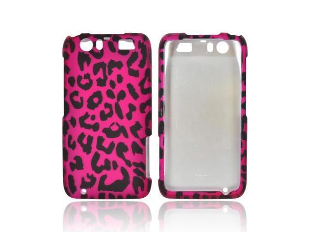 Motorola Atrix HD Rubberized Plastic Snap On Cover - Hot Pink/ Black Leopard