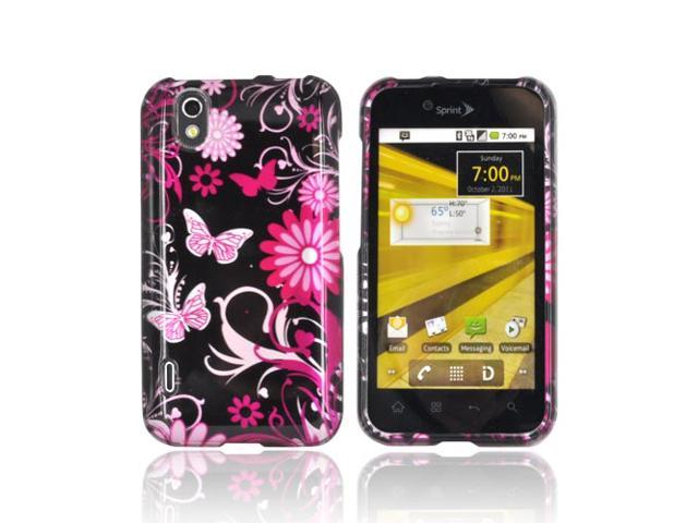 Slim & Protective Hard Case for LG Marquee LS855 - Pink Flowers & Butterflies on Black