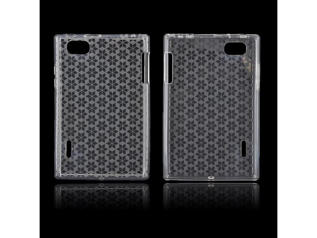 LG Intuition Vs950 Crystal Rubbery Feel Silicone Skin Case Cover - Transparent Clear Hex Star