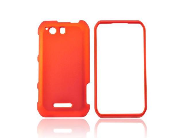 Motorola Photon Q 4g LTE Rubberized Hard Plastic Case Snap On Cover - Orange