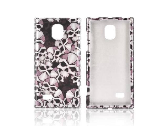 Slim & Protective Hard Case for LG Optimus VS930 - Silver Skulls on Black