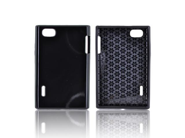 LG Intuition Vs950 Crystal Rubbery Feel Silicone Skin Case Cover - Black (hex Star Interior)