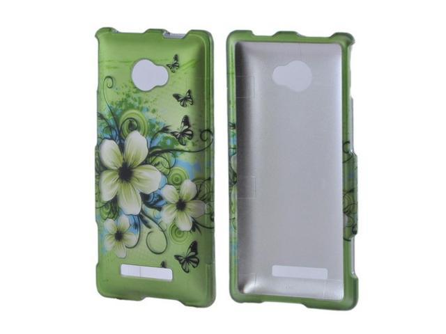 HTC 8x Rubberized Hard Plastic Case Snap On Cover - White Hawaiian Flowers On Green