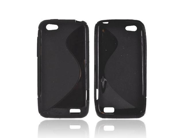 HTC One V Crystal Rubbery Feel Silicone Skin Case Cover - Black