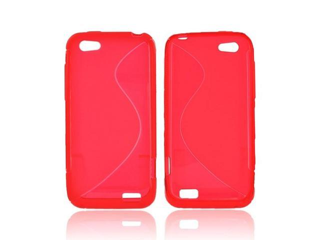 HTC One V Crystal Rubbery Feel Silicone Skin Case Cover - Red S