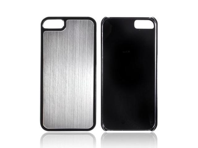 Apple Iphone 5 Hard Back Cover W/ Aluminum Back - Silver/ Black