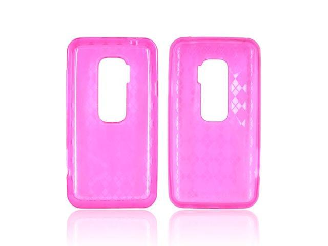 Pink Argyle Checkered Hard Crystal Silicone Case Cover For HTC EVO 3D