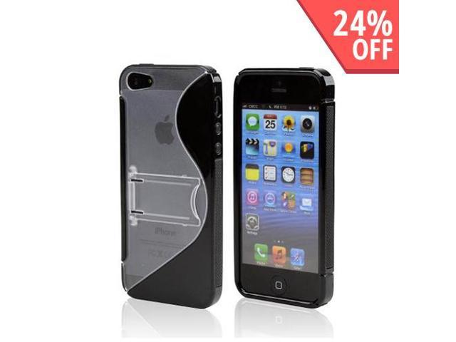 Apple Iphone 5 Hard Back W/ Crystal Silicone Lining & Kickstand - Black/ Frost White