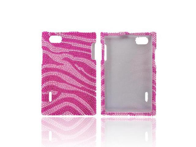 LG Intuition Vs950 Bling Hard Plastic Case Snap On Cover - Hot Pink/ Baby Pink Zebra