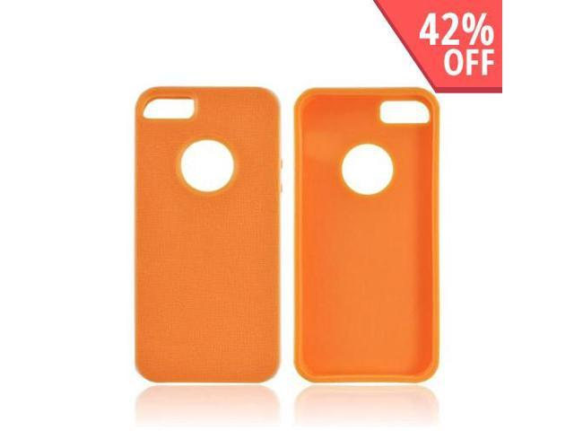 Apple Iphone 5 Crystal Rubbery Feel Silicone Skin Case Cover W/ Bumper - Orange/ White