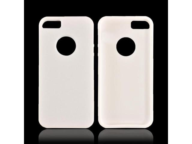 Apple Iphone 5 Crystal Rubbery Feel Silicone Skin Case Cover W/ Bumper - White