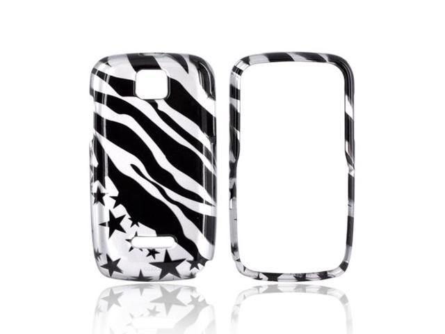 Slim & Protective Hard Case for Motorola Theory - Silver / Black Zebra Stars