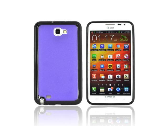 Samsung Galaxy Note Hard Plastic Case Snap On Cover W/ Gummy Silicone Border - Purple/ Black