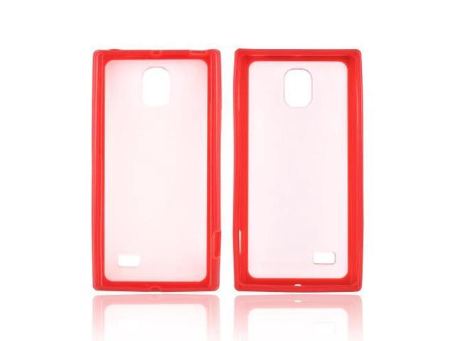 LG Spectrum 2 Hard Back Case W/ Gummy Crystal Silicone Lining - Red/ Frost White