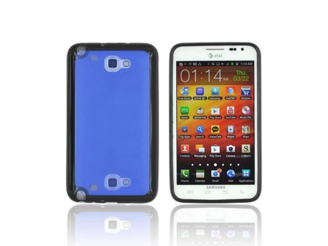 Samsung Galaxy Note Hard Plastic Case Snap On Cover W/ Gummy Silicone Border - Blue/ Black