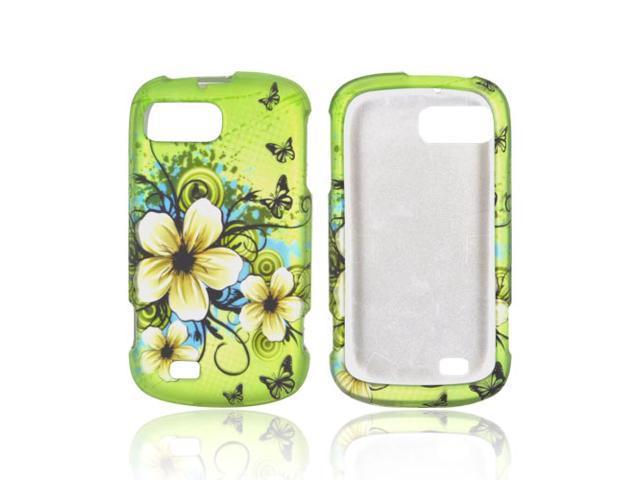 ZTE Fury N850 Rubberized Hard Plastic Case Snap On Cover - White Hawaiian Flowers On Green