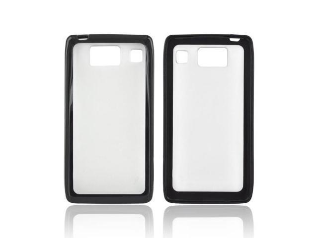 Motorola Droid RAZR HD Hard Back Case W/ Gummy Crystal Silicone Lining - Black/ Frost White