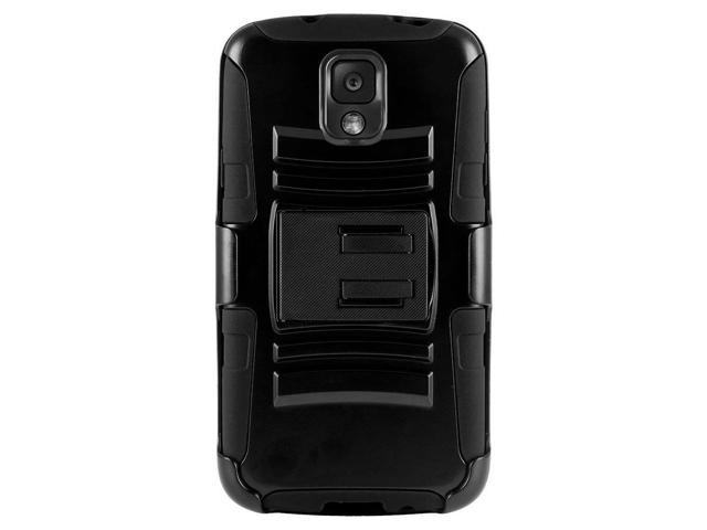 Black Hard Plastic Case Snap On Cover W/ Kickstand On Black Silicone Skin Case W/ Holster For Samsung Galaxy Note 3