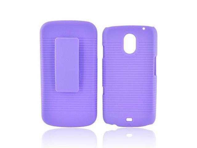 Samsung Galaxy Nexus Rubberized Hard Case w/  Stand - Purple