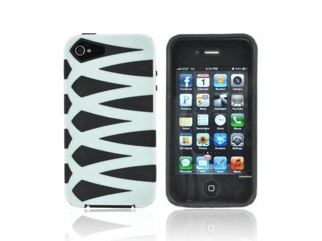 White Black Thick Silicone Fusion Case Cover For Apple Iphone 4s 4