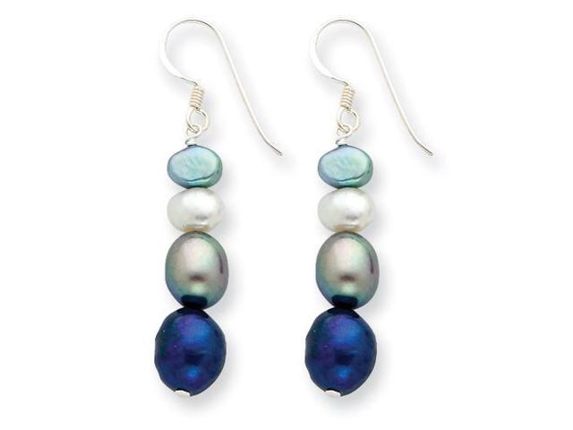 Multicolored Cultured Pearl Earrings in Sterling Silver