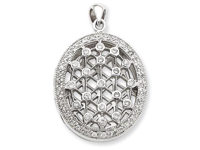 CZ Locket Pendant in Sterling Silver