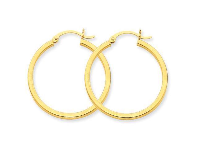 Square tube hoop earrings in 14k yellow gold newegg com