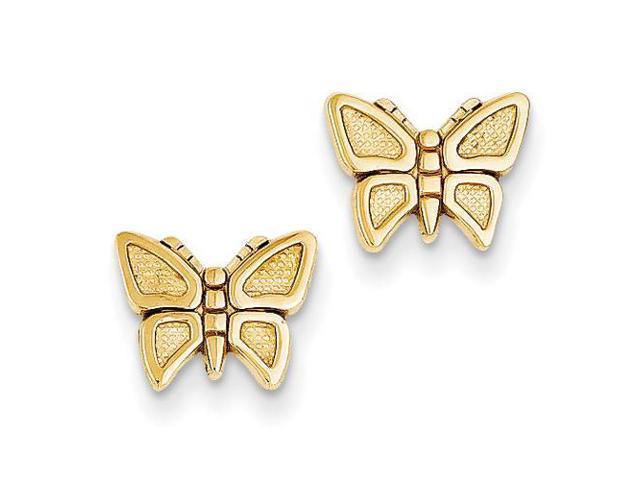 butterfly post earrings in 14k yellow gold newegg