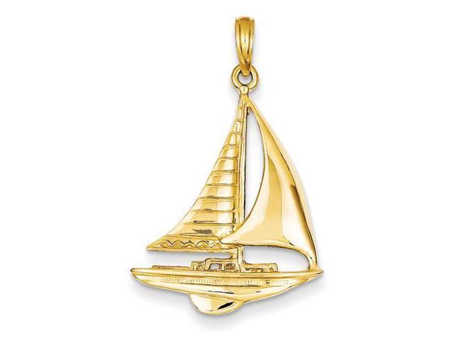 sailboat pendant in 14k yellow gold newegg