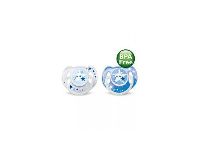 Philips AVENT BPA Free Nighttime Infant Pacifier, 0-6 Months, 2-Count, Colors May Vary