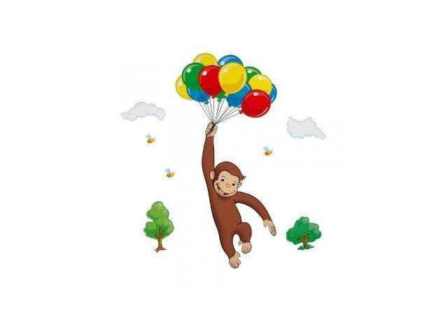 Roommate rmk1082gm curious george giant wall decal for Curious george mural