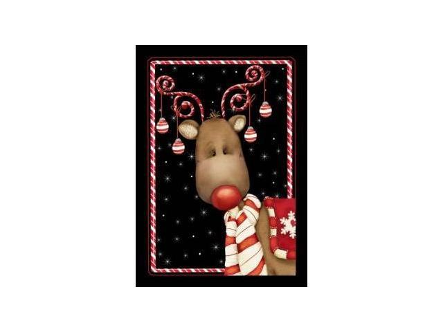 Candy Cane Reindeer Garden Flag