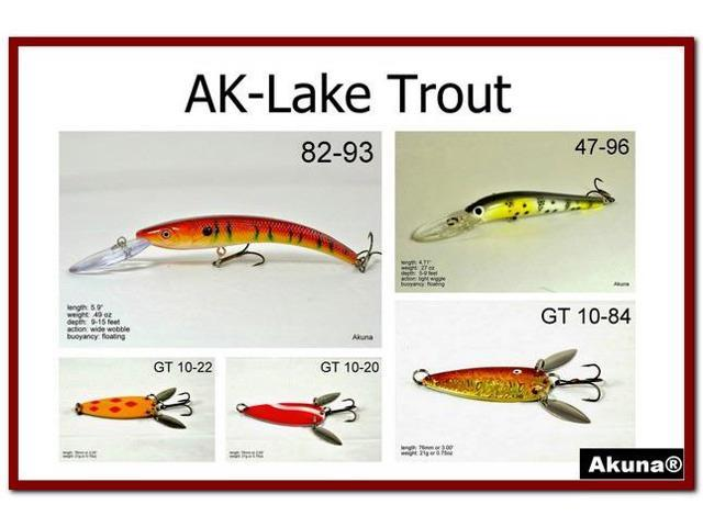 Akuna pack of 5 lures for lake trout fishing in each of for Lake trout fishing lures