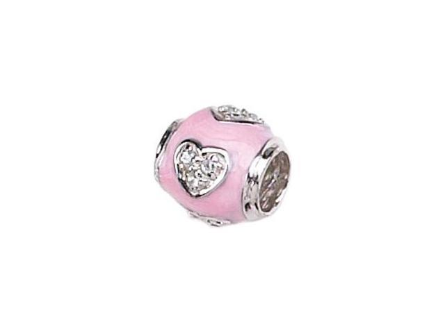 Genuine Zable (TM) Product. 925 Sterling Silver with Cubic Zirconia Hearts in Pink Enamel Bead Charm.