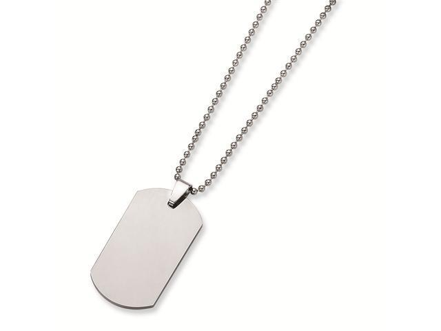 Genuine Chisel (TM) Necklace. Tungsten Polished Dog Tag Necklace. 100% Satisfaction Guaranteed.