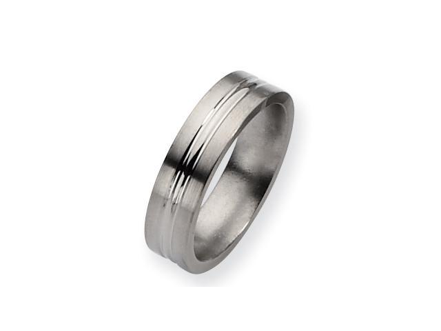 Genuine Chisel (TM) Band. Titanium Grooved 6mm Brushed and Polished Band ( Size 7)