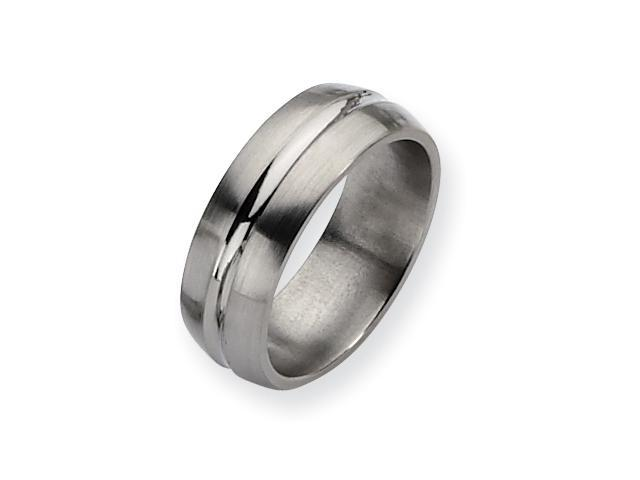 Genuine Chisel (TM) Band. Titanium Grooved 8mm Brushed and Polished Band ( Size 11.5)