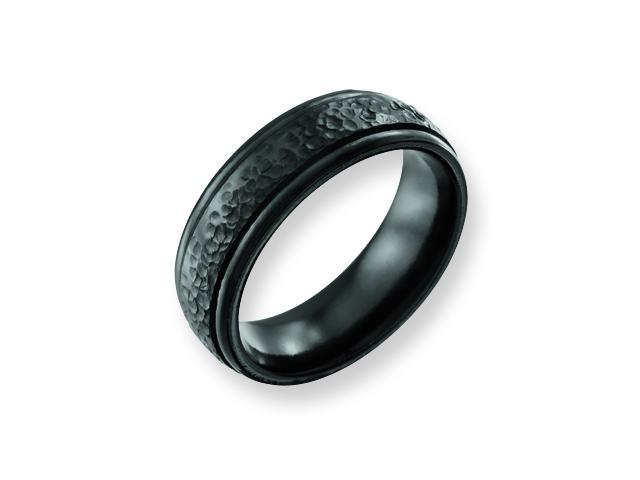 Genuine Chisel (TM) Band. Titanium Hammered Black 7mm Band ( Size 13)