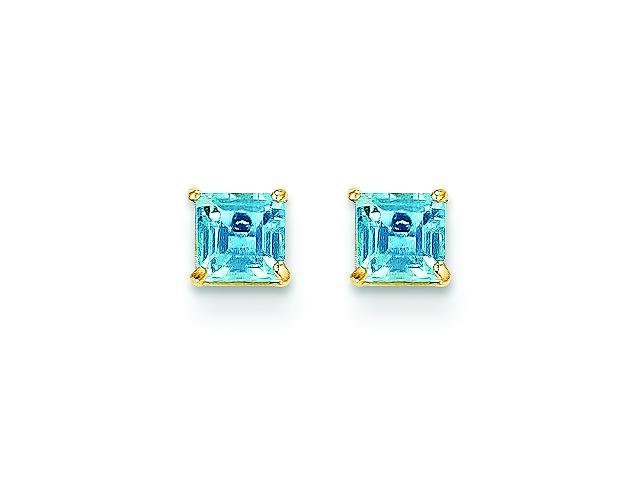 Genuine 14K Yellow Gold Blue Topaz 4mm Square Post Earrings