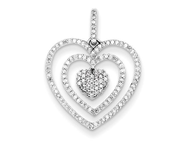 Genuine .925 Sterling Silver Diamond Heart Pendant 1.2 Grams.